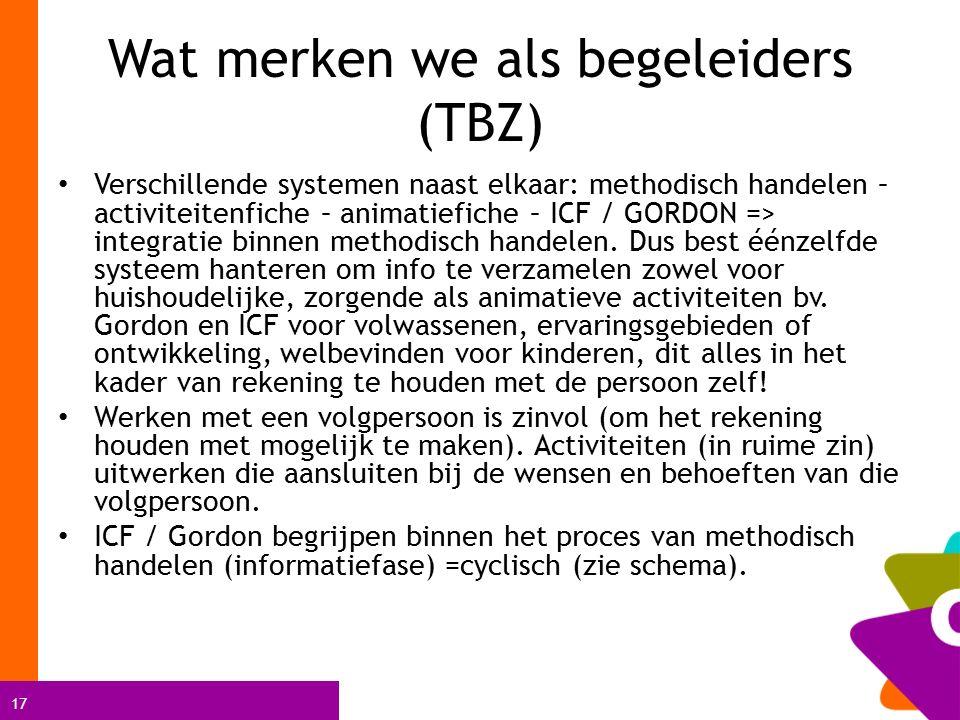 17 Wat merken we als begeleiders (TBZ) Verschillende systemen naast elkaar: methodisch handelen – activiteitenfiche – animatiefiche – ICF / GORDON => integratie binnen methodisch handelen.