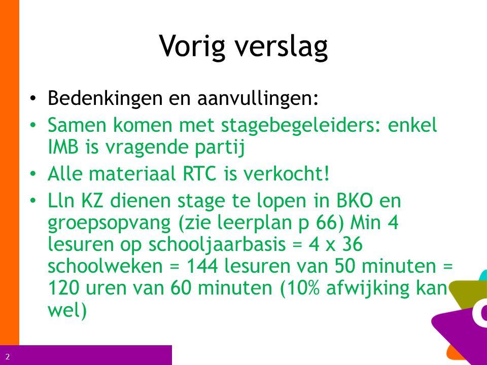 2 Vorig verslag Bedenkingen en aanvullingen: Samen komen met stagebegeleiders: enkel IMB is vragende partij Alle materiaal RTC is verkocht.