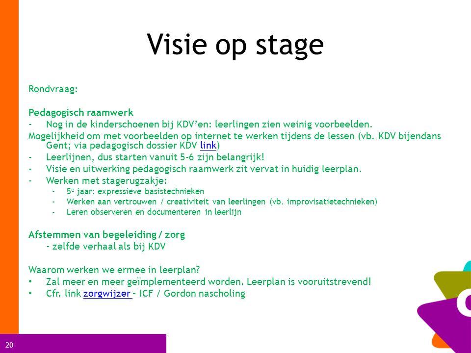 20 Visie op stage Rondvraag: Pedagogisch raamwerk -Nog in de kinderschoenen bij KDV'en: leerlingen zien weinig voorbeelden.