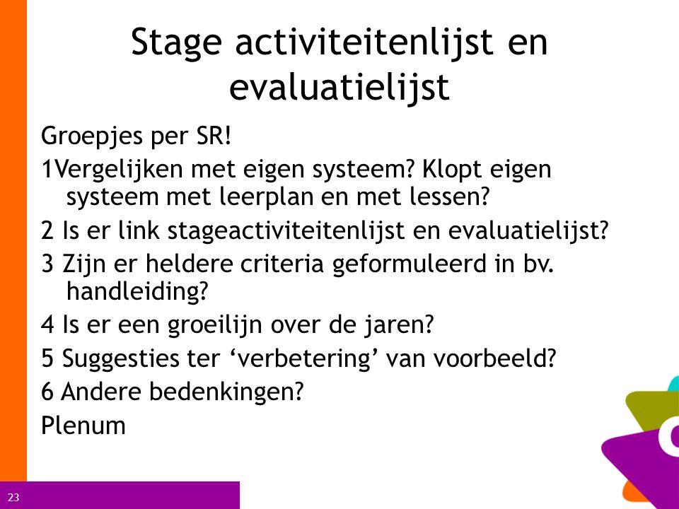 23 Stage activiteitenlijst en evaluatielijst Groepjes per SR.