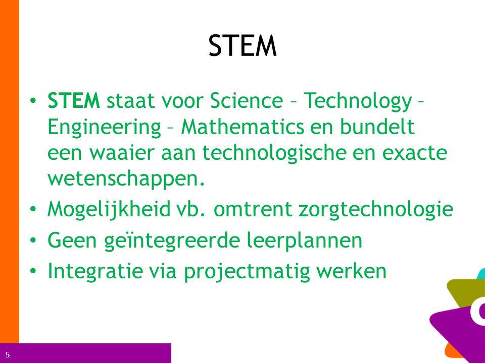 5 STEM STEM staat voor Science – Technology – Engineering – Mathematics en bundelt een waaier aan technologische en exacte wetenschappen.