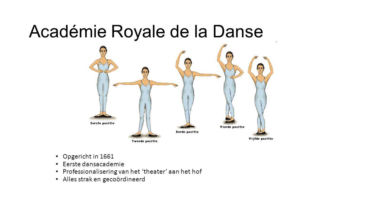 Académie Royale de la Danse Opgericht in 1661 Eerste dansacademie Professionalisering van het 'theater' aan het hof Alles strak en gecoördineerd