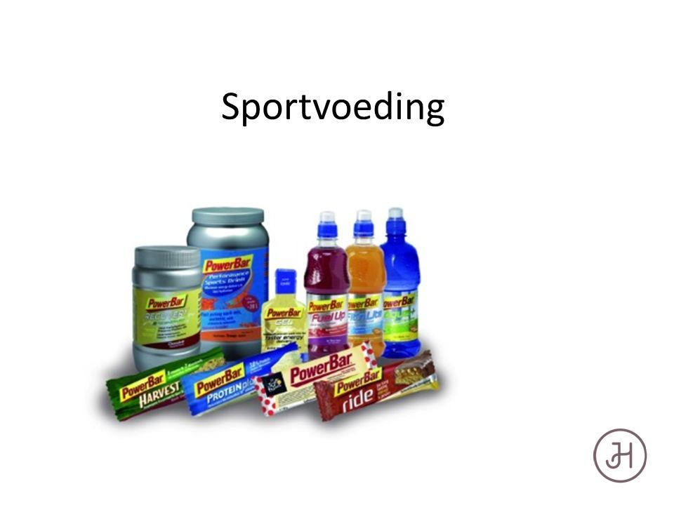 Verschillende sportvoeding Energiedrank: Aanvullen van koolhydraatgehalte Dorstlesser: Aanvullen van mineralen en vocht Hersteldrank: Aanvullen van koolhydraten en eiwitten