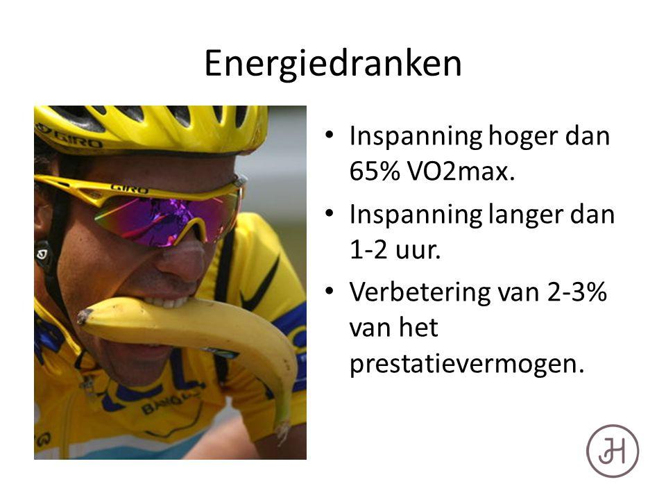 Energiedranken Inspanning hoger dan 65% VO2max. Inspanning langer dan 1-2 uur.