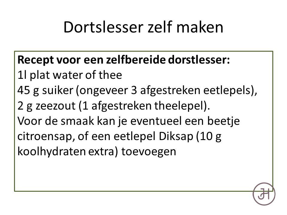 Dortslesser zelf maken Recept voor een zelfbereide dorstlesser: 1l plat water of thee 45 g suiker (ongeveer 3 afgestreken eetlepels), 2 g zeezout (1 afgestreken theelepel).