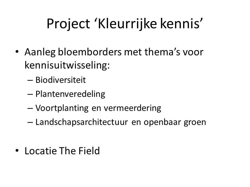 Project 'Kleurrijke kennis' Aanleg bloemborders met thema's voor kennisuitwisseling: – Biodiversiteit – Plantenveredeling – Voortplanting en vermeerdering – Landschapsarchitectuur en openbaar groen Locatie The Field