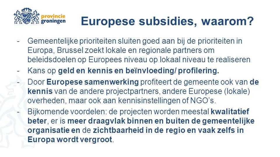 Europese subsidies, waarom.