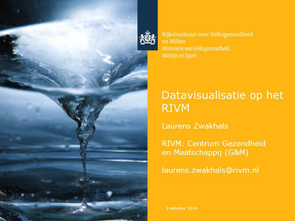 Datavisualisatie op het RIVM 9 oktober 2014 Laurens Zwakhals RIVM: Centrum Gezondheid en Maatschappij (G&M) laurens.zwakhals@rivm.nl