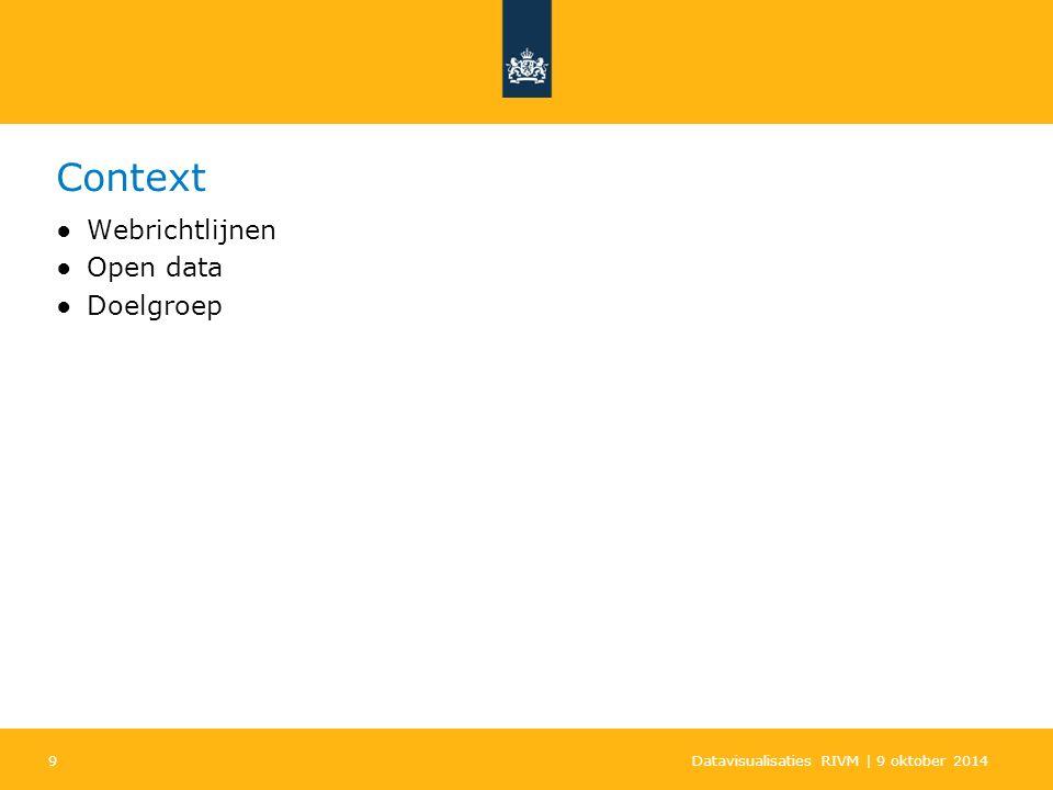 9 Context ●Webrichtlijnen ●Open data ●Doelgroep Datavisualisaties RIVM | 9 oktober 2014