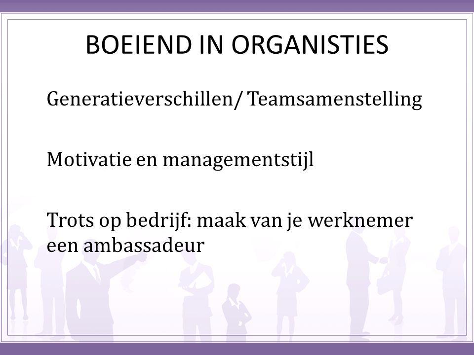 BOEIEND IN ORGANISTIES Generatieverschillen/ Teamsamenstelling Motivatie en managementstijl Trots op bedrijf: maak van je werknemer een ambassadeur