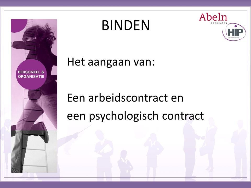 BINDEN Het aangaan van: Een arbeidscontract en een psychologisch contract