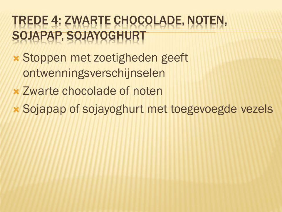  Stoppen met zoetigheden geeft ontwenningsverschijnselen  Zwarte chocolade of noten  Sojapap of sojayoghurt met toegevoegde vezels