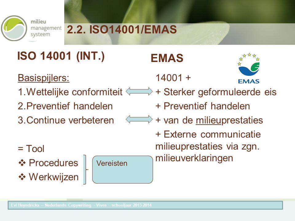 Herneming van de titel van de presentatieAuteur van de presentatie ISO 14001(INT.) Basispijlers: 1.Wettelijke conformiteit 2.Preventief handelen 3.Continue verbeteren = Tool  Procedures  Werkwijzen EMAS 14001 + + Sterker geformuleerde eis + Preventief handelen + van de milieuprestaties + Externe communicatie milieuprestaties via zgn.
