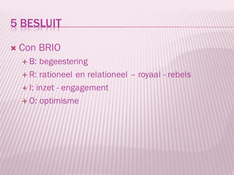  Con BRIO  B: begeestering  R: rationeel en relationeel – royaal - rebels  I: inzet - engagement  O: optimisme