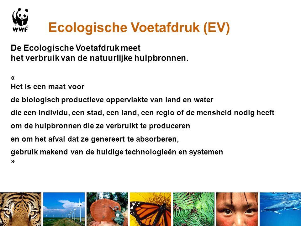 Ecologische Voetafdruk (EV) De Ecologische Voetafdruk meet het verbruik van de natuurlijke hulpbronnen.