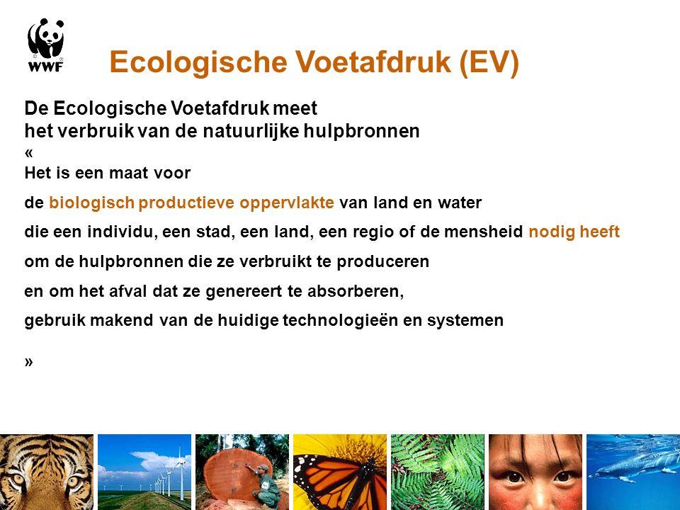 Ecologische Voetafdruk (EV) De Ecologische Voetafdruk meet het verbruik van de natuurlijke hulpbronnen « Het is een maat voor de biologisch productieve oppervlakte van land en water die een individu, een stad, een land, een regio of de mensheid nodig heeft om de hulpbronnen die ze verbruikt te produceren en om het afval dat ze genereert te absorberen, gebruik makend van de huidige technologieën en systemen »