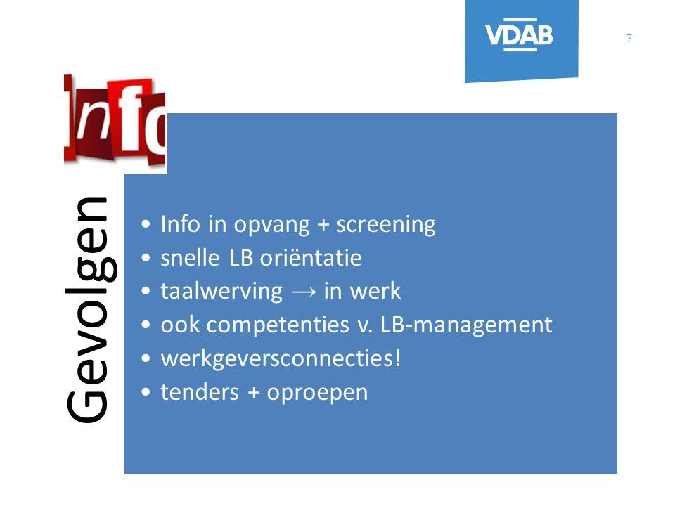 Gevolgen Info in opvang + screening snelle LB oriëntatie taalwerving → in werk ook competenties v.