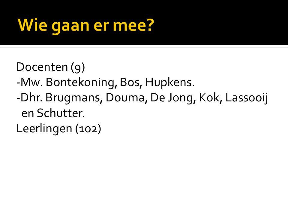 Docenten (9) -Mw. Bontekoning, Bos, Hupkens. -Dhr. Brugmans, Douma, De Jong, Kok, Lassooij en Schutter. Leerlingen (102)