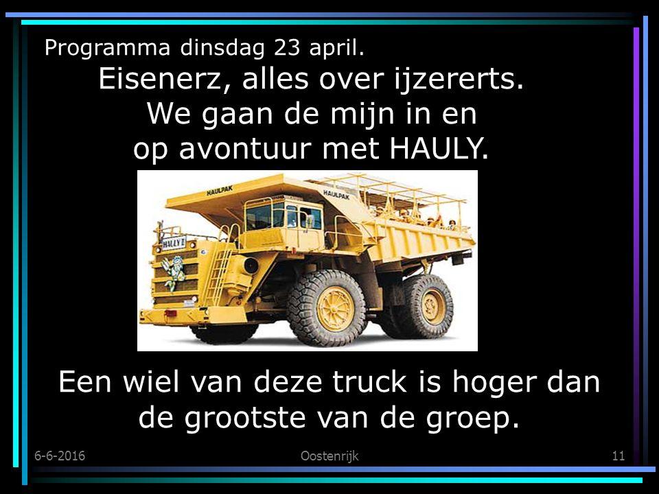 6-6-2016Oostenrijk11 Programma dinsdag 23 april. Eisenerz, alles over ijzererts.