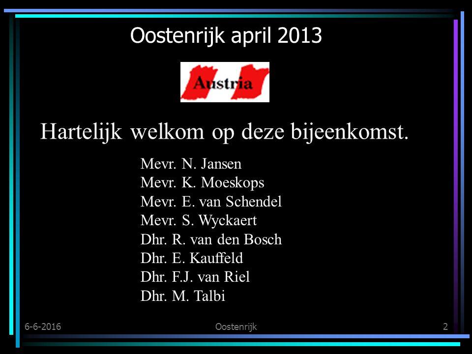 6-6-2016Oostenrijk2 Oostenrijk april 2013 Hartelijk welkom op deze bijeenkomst.