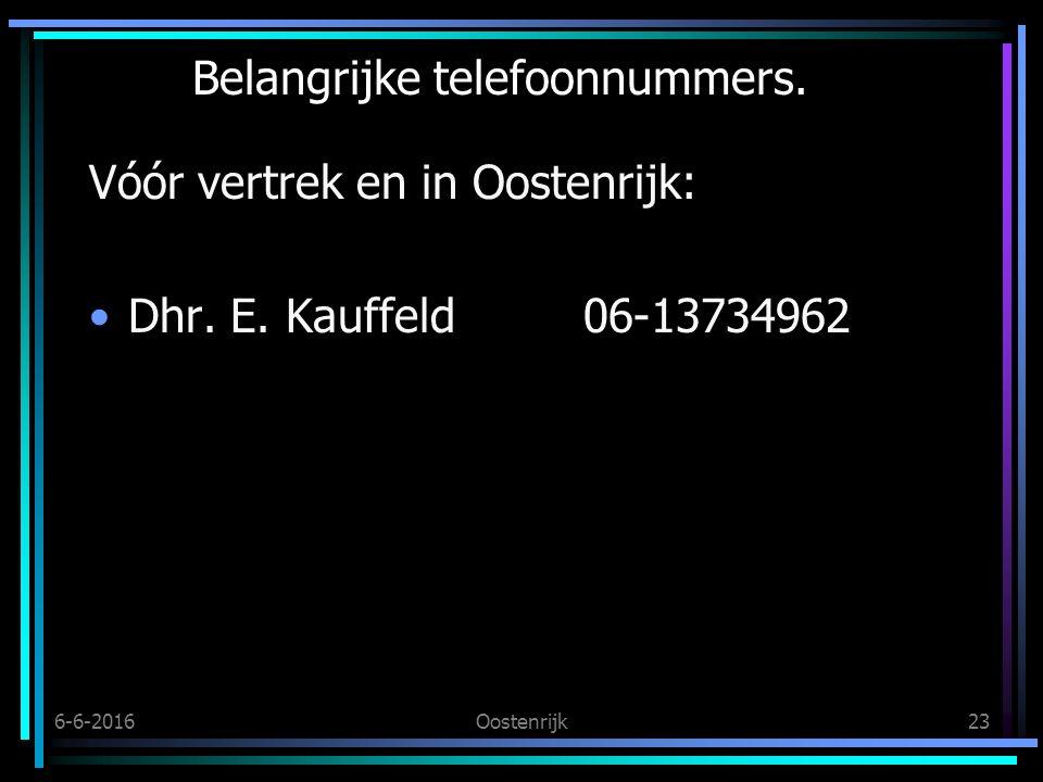 6-6-2016Oostenrijk23 Belangrijke telefoonnummers. Vóór vertrek en in Oostenrijk: Dhr.