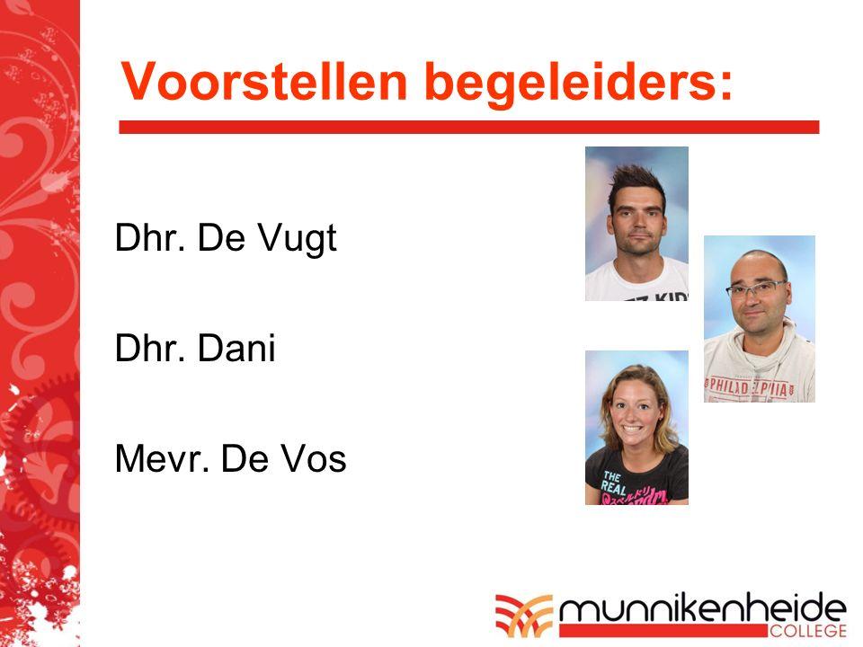 Voorstellen begeleiders: Dhr. De Vugt Dhr. Dani Mevr. De Vos