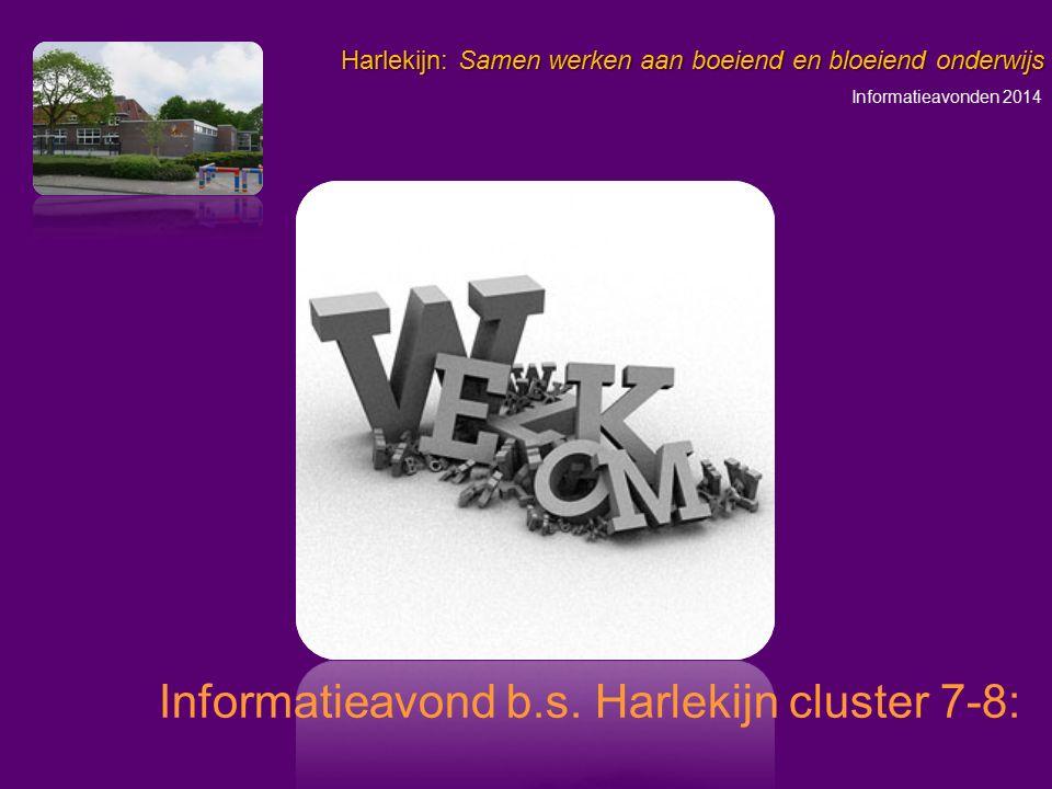 Informatieavonden 2014 Harlekijn: Samen werken aan boeiend en bloeiend onderwijs Belangrijke data Veranderingen Cito eindtoets Het voortgezet onderwijs Algemene zaken m.b.t.
