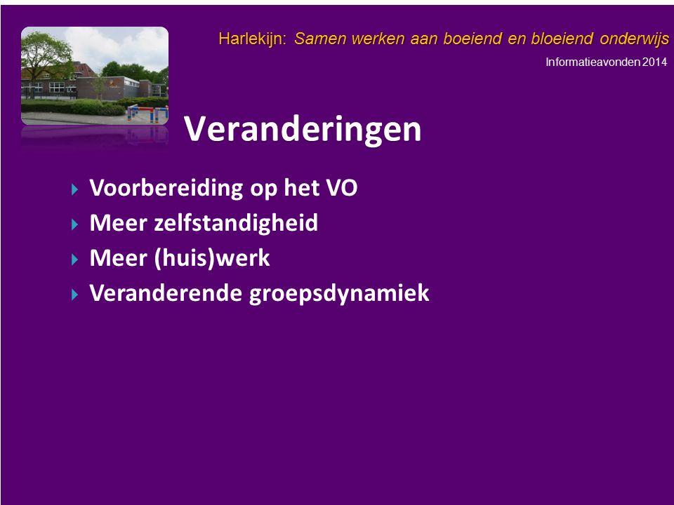 Informatieavonden 2014 Harlekijn: Samen werken aan boeiend en bloeiend onderwijs   Voorbereiding op het VO   Meer zelfstandigheid   Meer (huis)w