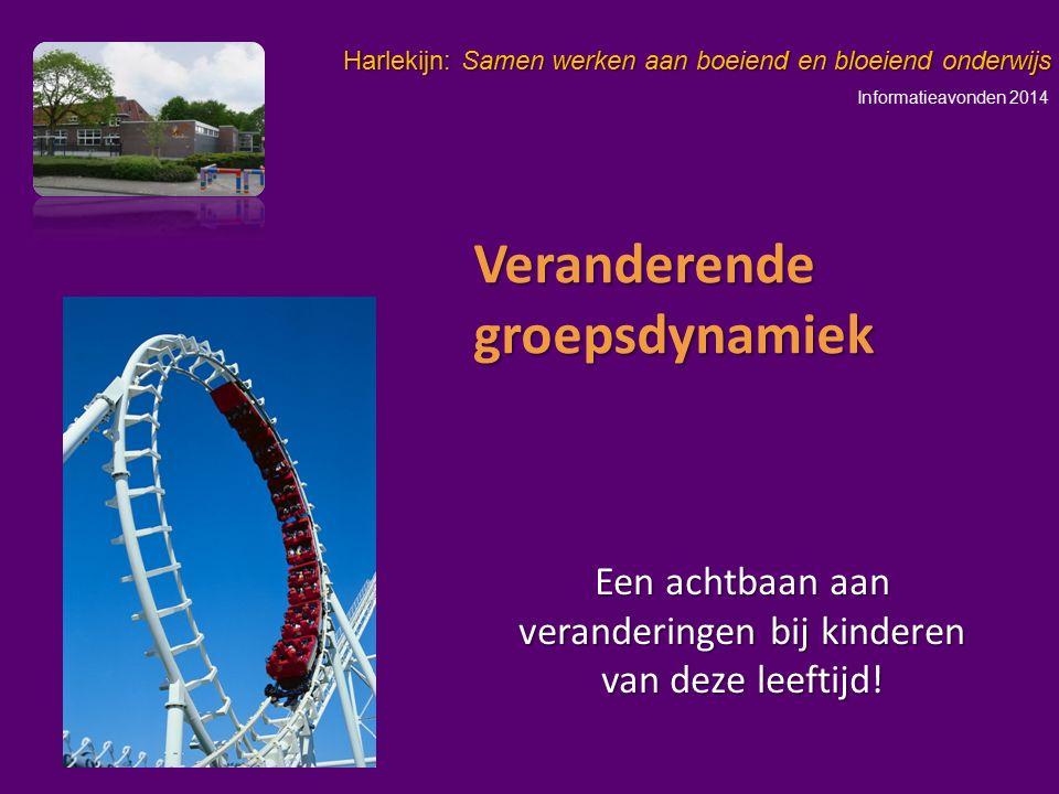 Informatieavonden 2014 Harlekijn: Samen werken aan boeiend en bloeiend onderwijs Veranderende groepsdynamiek Een achtbaan aan veranderingen bij kinder