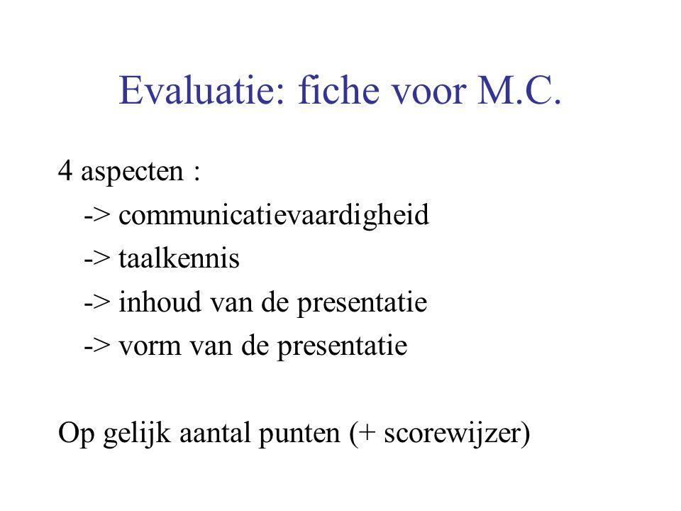 Evaluatie: fiche voor M.C. 4 aspecten : -> communicatievaardigheid -> taalkennis -> inhoud van de presentatie -> vorm van de presentatie Op gelijk aan