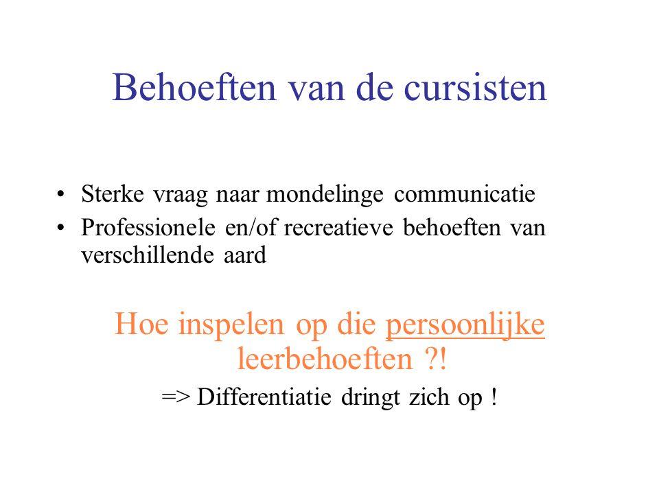 Behoeften van de cursisten Sterke vraag naar mondelinge communicatie Professionele en/of recreatieve behoeften van verschillende aard Hoe inspelen op die persoonlijke leerbehoeften .
