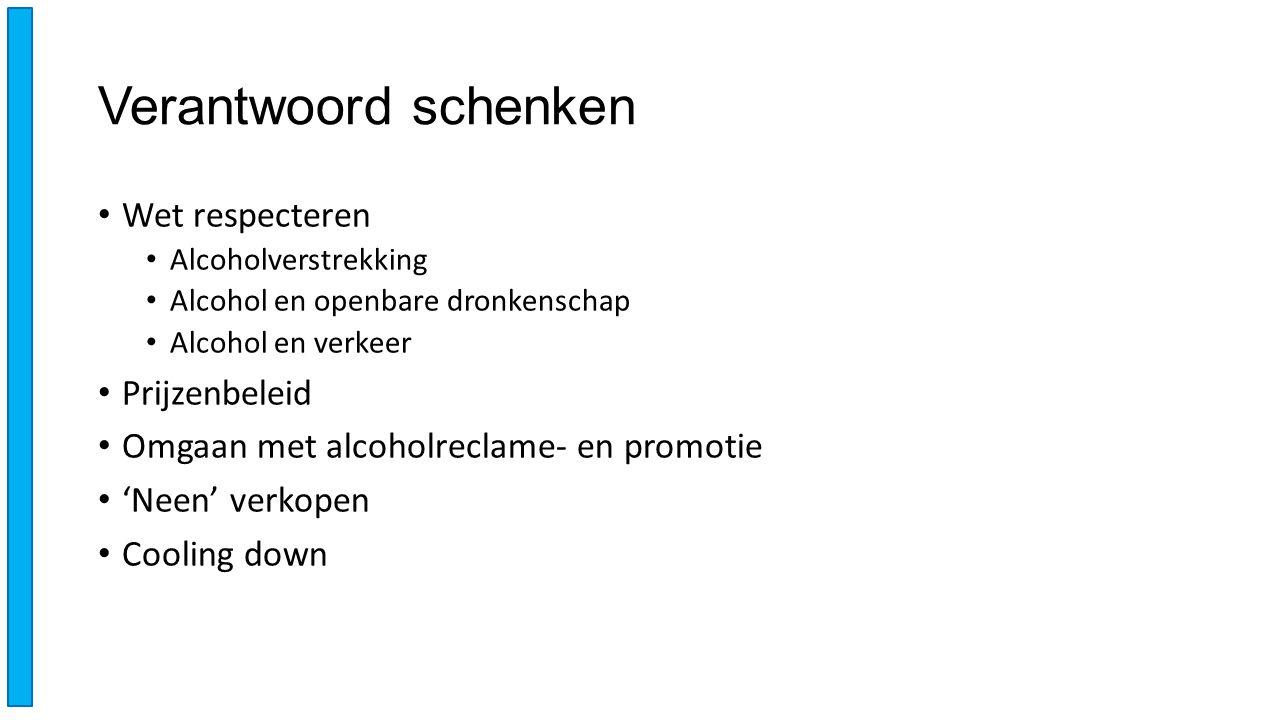 Verantwoord schenken Wet respecteren Alcoholverstrekking Alcohol en openbare dronkenschap Alcohol en verkeer Prijzenbeleid Omgaan met alcoholreclame-
