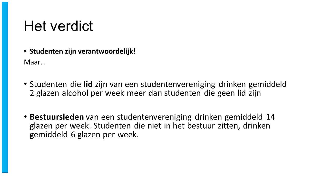 Het verdict Studenten zijn verantwoordelijk! Maar… Studenten die lid zijn van een studentenvereniging drinken gemiddeld 2 glazen alcohol per week meer