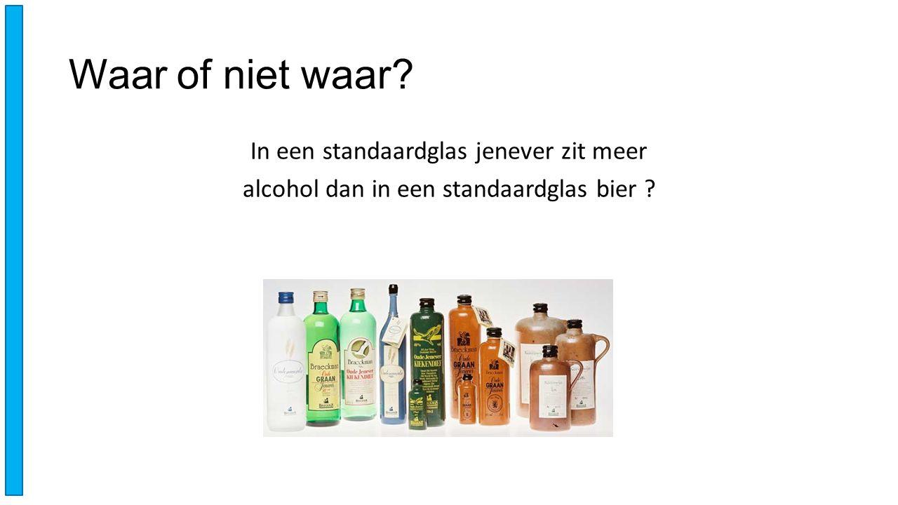 Waar of niet waar? In een standaardglas jenever zit meer alcohol dan in een standaardglas bier ?