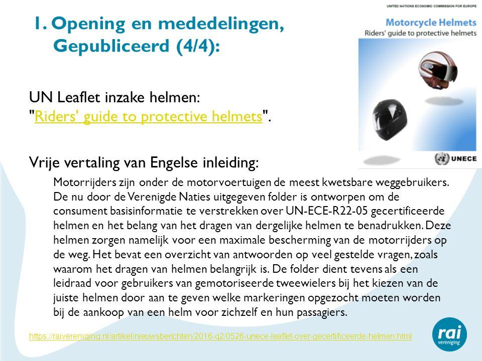 1. Opening en mededelingen, Gepubliceerd (4/4): UN Leaflet inzake helmen: