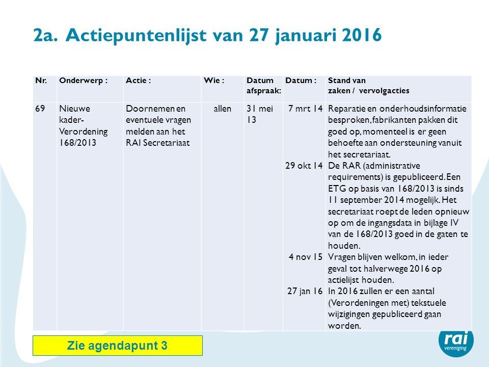 2a. Actiepuntenlijst van 27 januari 2016 Nr.Onderwerp :Actie :Wie :Datum afspraak: Datum :Stand van zaken / vervolgacties 69Nieuwe kader- Verordening