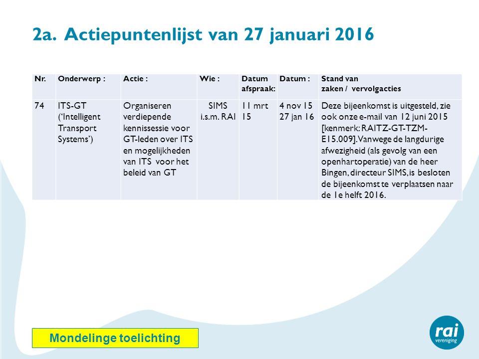 2a. Actiepuntenlijst van 27 januari 2016 Nr.Onderwerp :Actie :Wie :Datum afspraak: Datum :Stand van zaken / vervolgacties 74ITS-GT ('Intelligent Trans