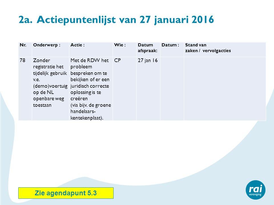 2a. Actiepuntenlijst van 27 januari 2016 Nr.Onderwerp :Actie :Wie :Datum afspraak: Datum :Stand van zaken / vervolgacties 78Zonder registratie het tij