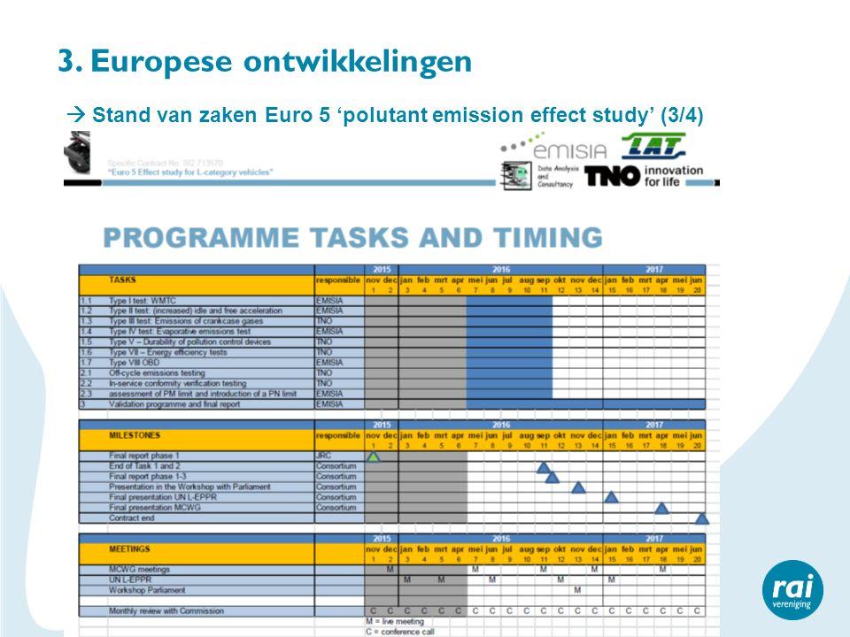 3. Europese ontwikkelingen  Stand van zaken Euro 5 'polutant emission effect study' (3/4)