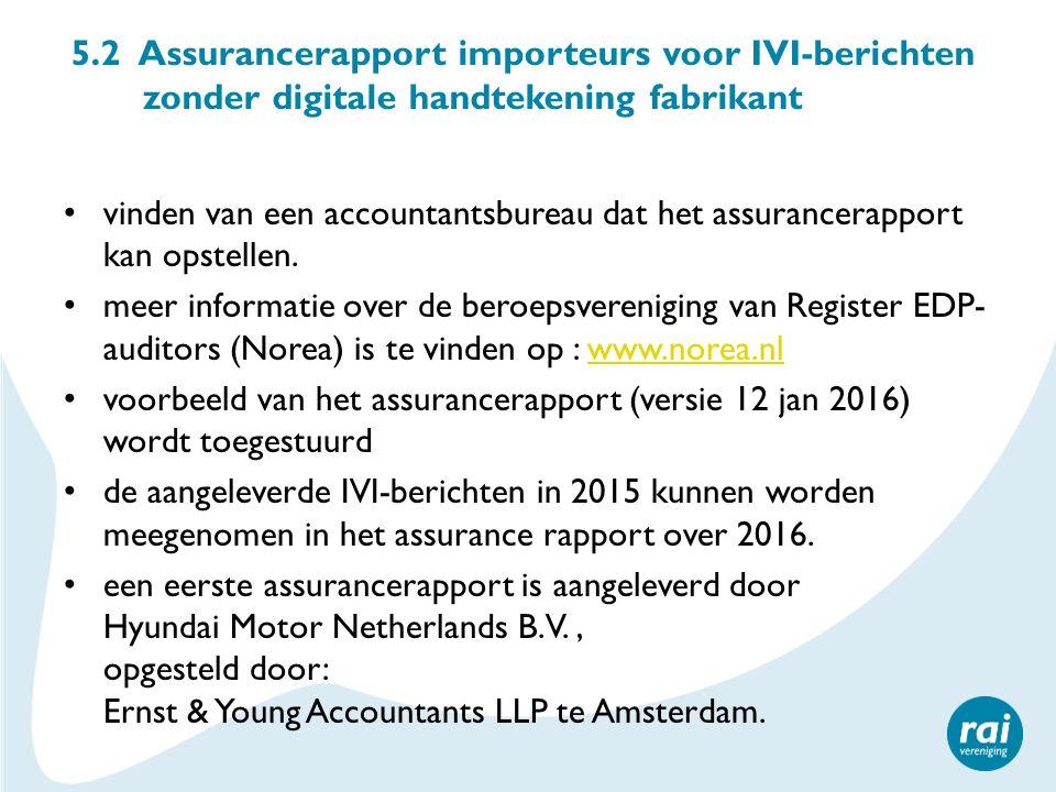 5.2 Assurancerapport importeurs voor IVI-berichten zonder digitale handtekening fabrikant vinden van een accountantsbureau dat het assurancerapport kan opstellen.