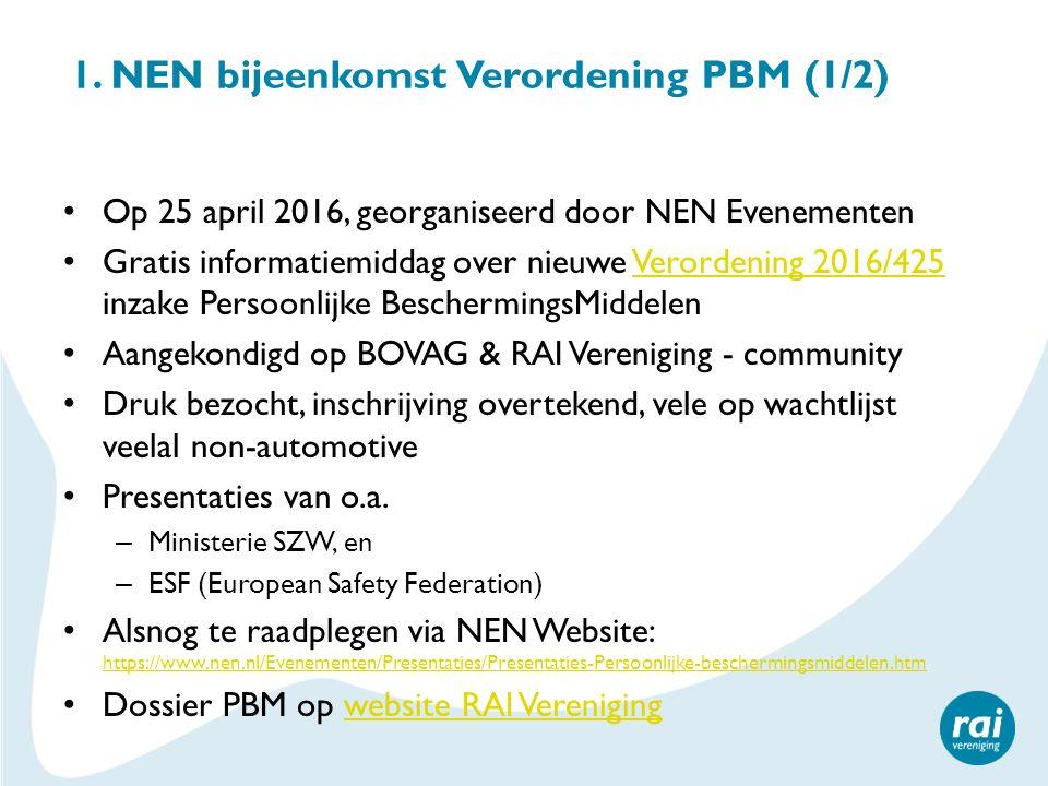 1. NEN bijeenkomst Verordening PBM (1/2) Op 25 april 2016, georganiseerd door NEN Evenementen Gratis informatiemiddag over nieuwe Verordening 2016/425