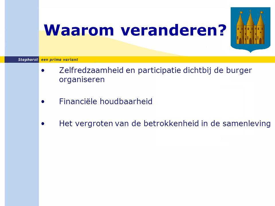 Nieuwe wetten Verantwoordelijkheid Rijk: Wet langdurige zorg Verantwoordelijkheid zorgkantoren: Zorgverzekeringswet Verantwoordelijkheid Gemeenten: Wmo 2015