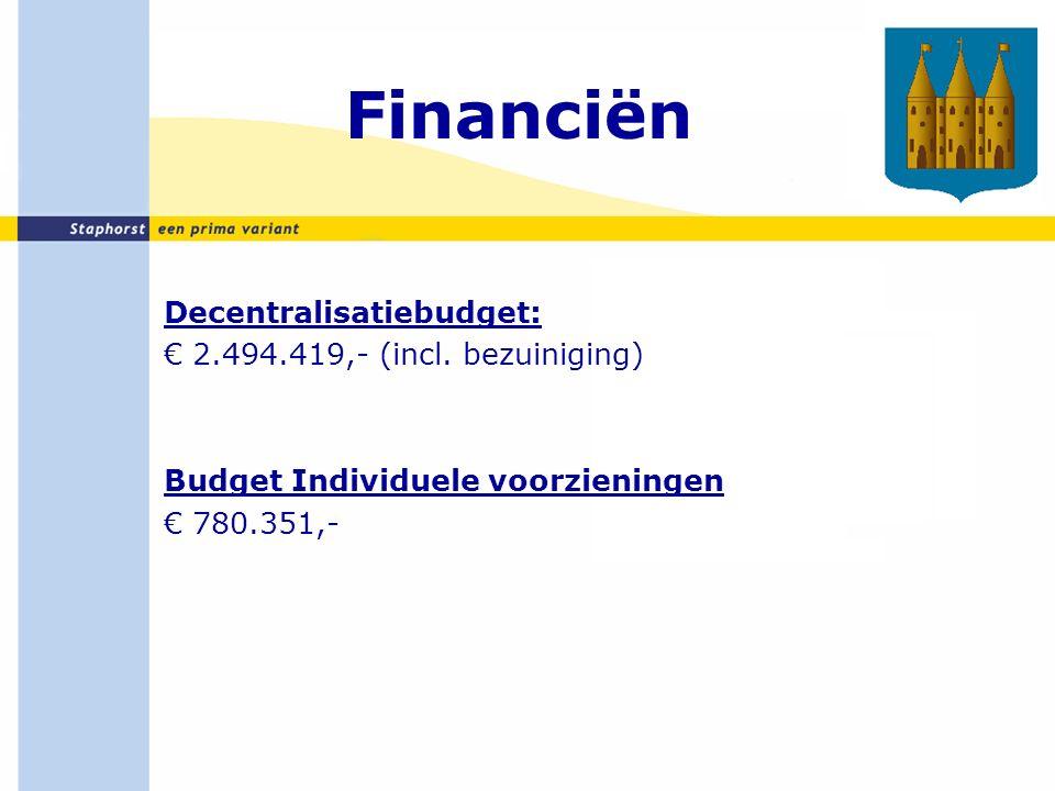 Financiën Decentralisatiebudget: € 2.494.419,- (incl.