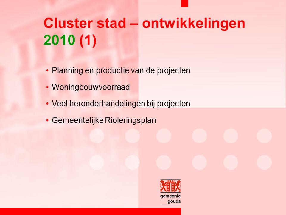 Planning en productie van de projecten Woningbouwvoorraad Veel heronderhandelingen bij projecten Gemeentelijke Rioleringsplan Cluster stad – ontwikkelingen 2010 (1)