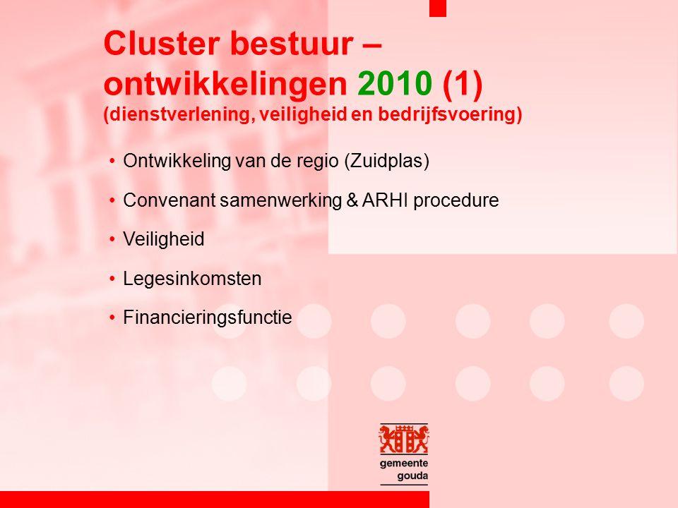 Ontwikkeling van de regio (Zuidplas) Convenant samenwerking & ARHI procedure Veiligheid Legesinkomsten Financieringsfunctie Cluster bestuur – ontwikkelingen 2010 (1) (dienstverlening, veiligheid en bedrijfsvoering)