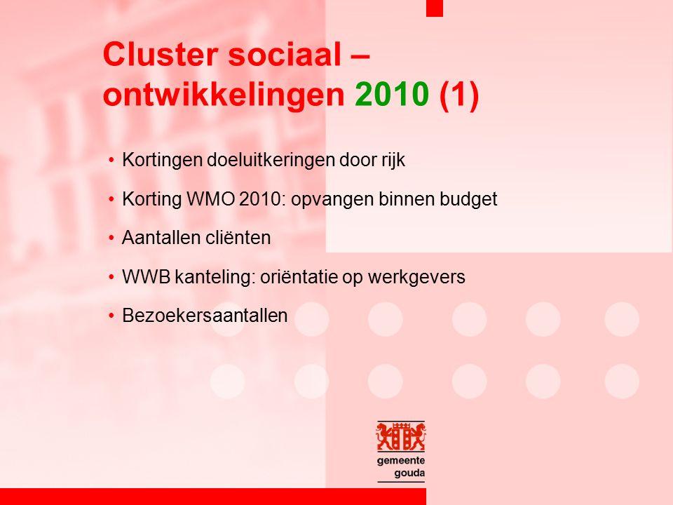 Kortingen doeluitkeringen door rijk Korting WMO 2010: opvangen binnen budget Aantallen cliënten WWB kanteling: oriëntatie op werkgevers Bezoekersaantallen Cluster sociaal – ontwikkelingen 2010 (1)