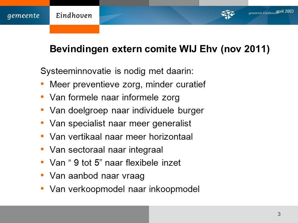 april 2003 4 Wij Eindhoven is de kapstok, daarbinnen passen: Transitie jeugdzorg Passend onderwijs Transitie Wet Werken naar Vermogen AWBZ transitie Kanteling WMO Omvormingen schulddienstverlening Etc…..