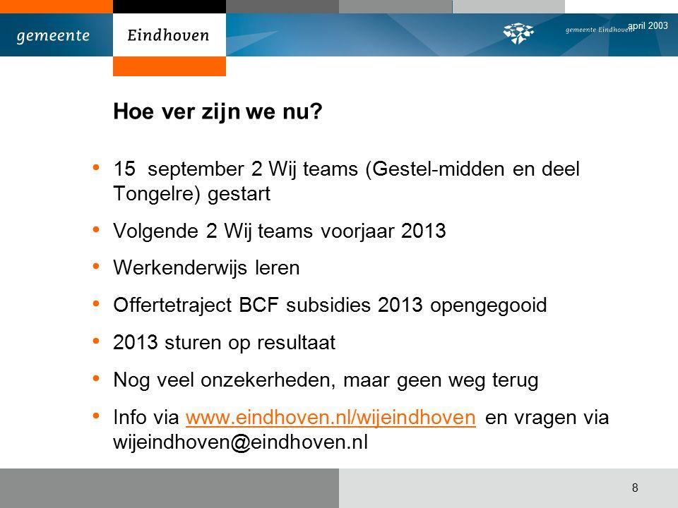 april 2003 8 Hoe ver zijn we nu? 15 september 2 Wij teams (Gestel-midden en deel Tongelre) gestart Volgende 2 Wij teams voorjaar 2013 Werkenderwijs le