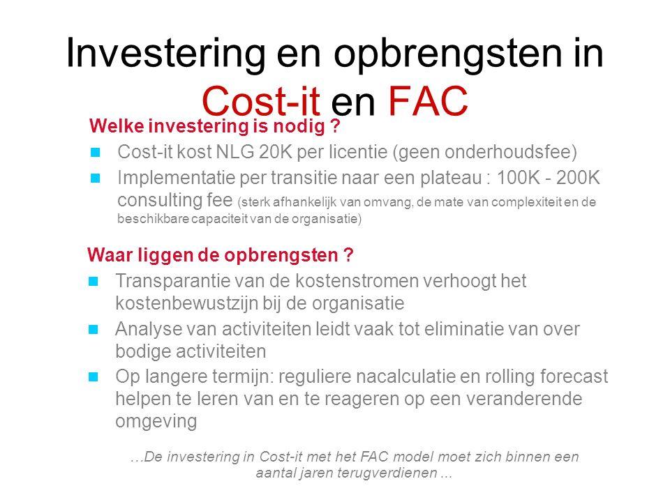 Investering en opbrengsten in Cost-it en FAC …De investering in Cost-it met het FAC model moet zich binnen een aantal jaren terugverdienen... Waar lig