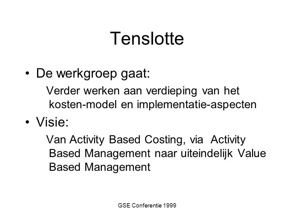 GSE Conferentie 1999 Tenslotte De werkgroep gaat: Verder werken aan verdieping van het kosten-model en implementatie-aspecten Visie: Van Activity Based Costing, via Activity Based Management naar uiteindelijk Value Based Management